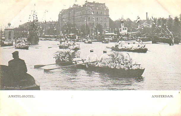 Parade on Water in front of the Amstel Hotel in Amsterdam Netherlands, Vintage Postcard - 3219