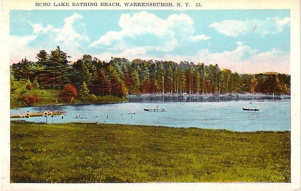 Echo Lake Bathing Beach in Warrensburgh New York NY, Vintage Postcard - 3228
