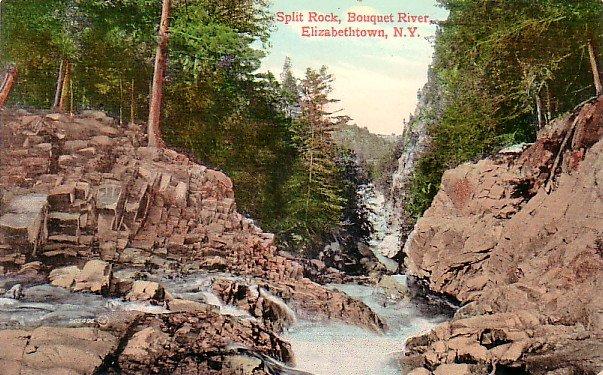 Split Rock and Bouquet River at Elizabethtown New York NY, Vintage Postcard - 3232
