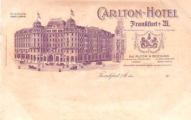 Carlton Hotel at Frankfurt Germany, Vintage Postcard - 3236