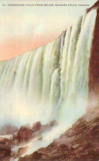Horseshoe Falls from Below at Niagara Falls Canada, Vintage Postcard - 3249