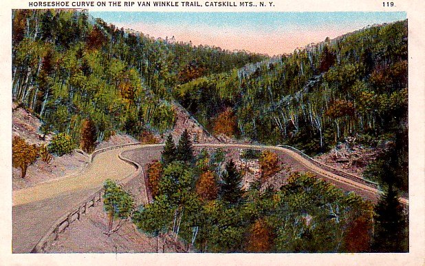 Horseshoe Curve on the Rip Van Winkle Trail at Catskill Mountains New York NY, Postcard - 3260