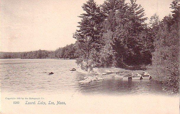 Laurel Lake at Lee Massachusetts MA, 1905 Rotograph Co. Vintage Postcard - 3265