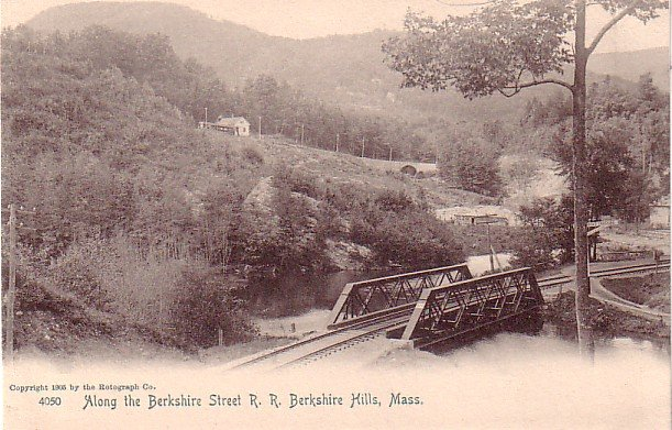 Berkshire St. R.R. Tracks at Berkshire Hills Massachusetts MA, 1905 Rotograph Co. Postcard - 3271