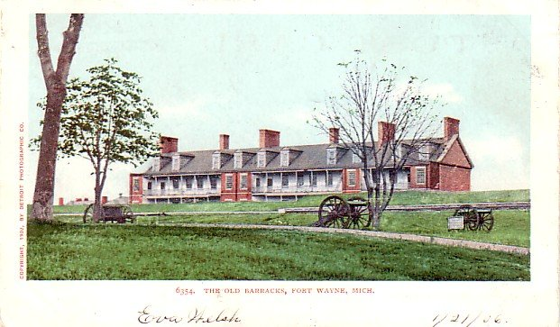 Cannons in Front of Old Barracks at Fort Wayne Michigan MI, Detroit Publishing Postcard - 3294