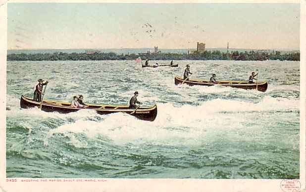 Shooting the Rapids at Sault Ste Marie Michigan MI, Detroit Publishing Postcard - 3299
