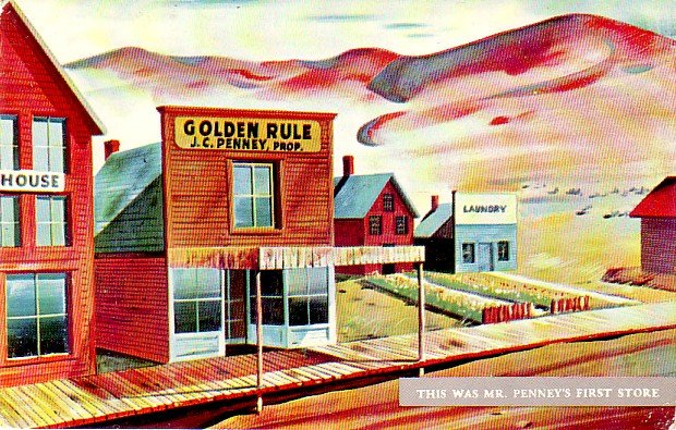 J.C. Penney Golden Rule Store in Kemmerer Wyoming WY, Chrome Postcard - 3313