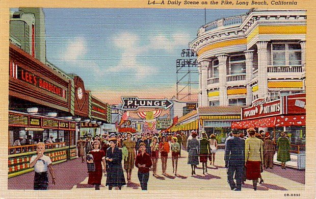 Scene on The Pike Amusement Center in Long Beach California CA, 1940 Curt Teich Postcard - 3325