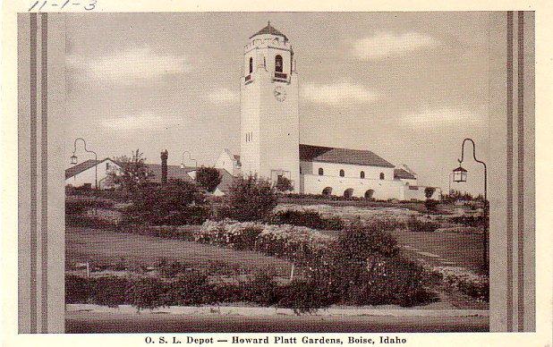 O.S.L. Depot and the Howard Platt Gardens at Boise Idaho ID - Vintage Postcard - 3330