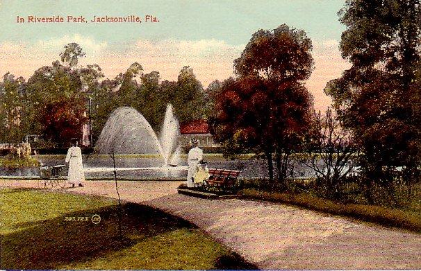 In Riverside Park at Jacksonville Florida FL, Vintage Postcard - 3341