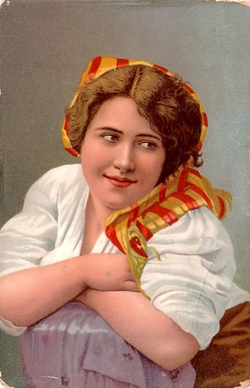 Pretty Ethnic Girl in Scarf, Stengel & Co. Vintage Postcard - 3344