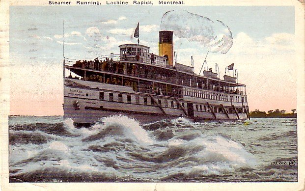 Steamer Running Lachine Rapids at Montreal Canada, 1924 Vintage Postcard - 3346