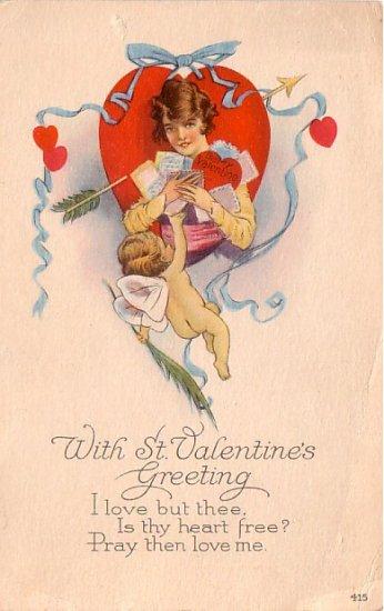Cupid Delivering St. Valentine's Greetings, 1922 Vintage Postcard - 3354