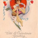 Cupid Delivering St. Valentine's Greetings, 1922 Vintage Postcard - 3354