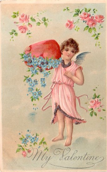 My Valentine, Cupid Spilling Forget Me Nots from Heart, Vintage Postcard - 3358