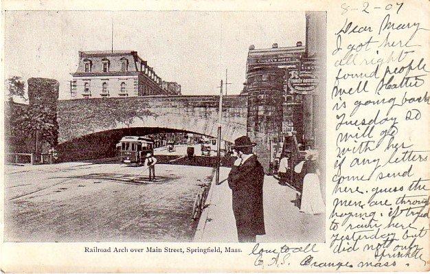 Railroad Arch over Main Street in Springfield Massachusetts MA, 1907 Vintage Postcard - 3371