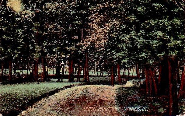 Union Park at Des Moines Iowa IA, 1914 Vintage Postcard - 3385