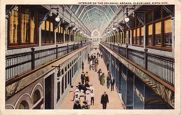 Interior of the Colonial Arcade in Cleveland Ohio OH, 1922 Curt Teich Vintage Postcard - 3391