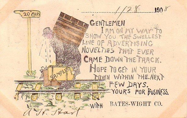 Bates Wight Co. Salesman Appointment Card, 1908 Vintage Postcard - 3405