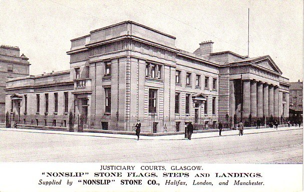 Justiciary Courts at Glosgow Scotland, Nonslip Stone Co. Advertising Postcard - 3408