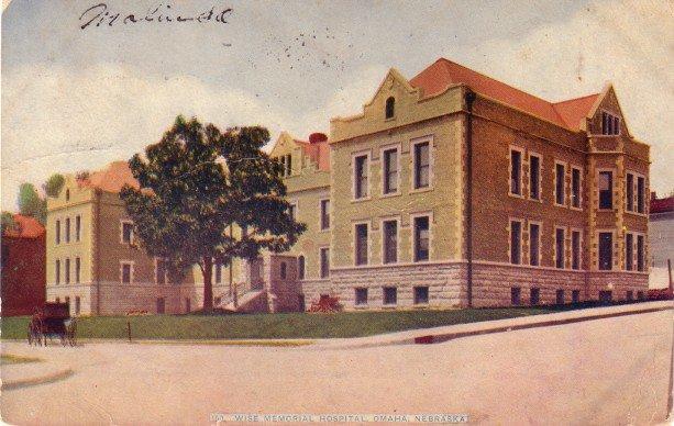 Wise Memorial Hospital at Omaha Nebraska NE, 1912 Vintage Postcard - 3410