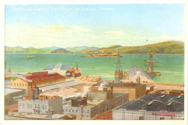 San Francisco Bay from North Beach at California CA, Vintage Postcard - 3411