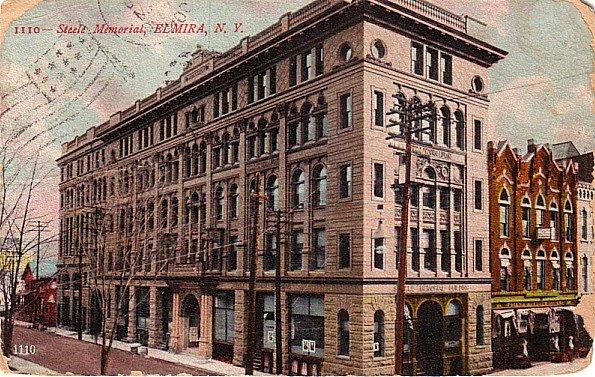 Steele Memorial Building at Elmira New York NY, 1909 Vintage Postcard - 3426