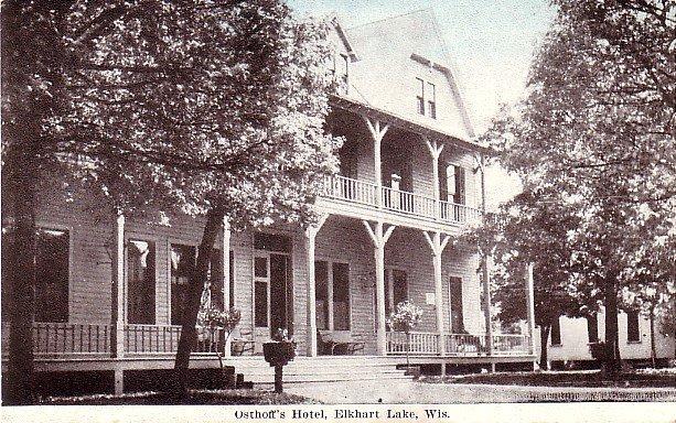 Osthoff's Hotel at Elkhart Lake Wisconsin WI, Vintage Postcard - 3447