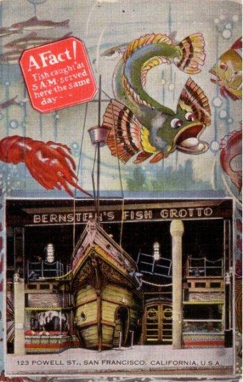 Bernstein's Fish Grotto Restaurant in San Francisco California CA, 1938 Linen Postcard - 3449