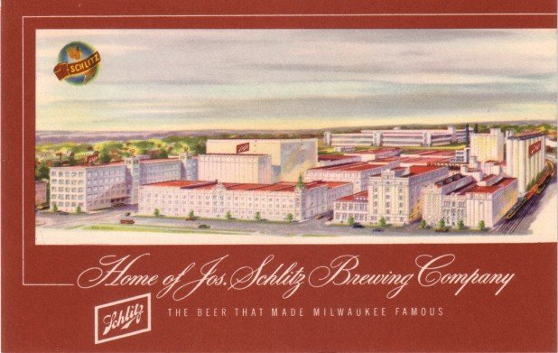 Home of Jos. Schlitz Brewing Company in Milwaukee Wisconsin WI, Vintage Postcard - 3451