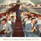 Interior of Northwest Orient Airlines DC - 6 B's 1956 Vintage Postcard - 3453