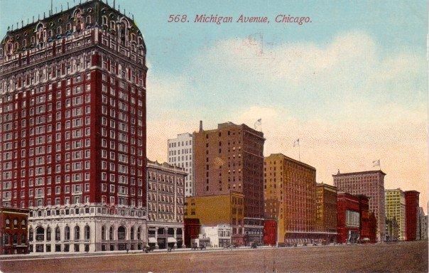 Michigan Avenue in Chicago Illinois IL,  Vintage Postcard - 3460