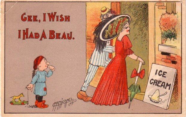 Artist Signed by Carmichael, Gee I Wish I Had a Beau, 1909 Vintage Postcard - 3465