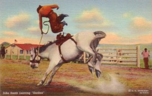 John Smith Leaving Snakes the Bucking Horse, 1939 Curt Teich Linen Postcard - 3468