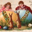 Children Peering Over Eggs at Easter Bunnies Embossed Vintage Postcard - 3470