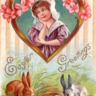 E. Nash Easter Scene with Girl and Bunnies, 1912 Vintage Postcard - 3473