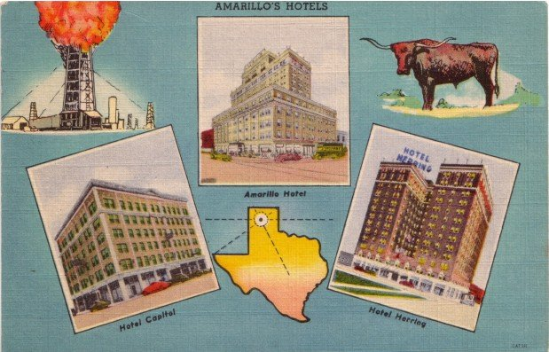 Colorful Graphic Postcard of Amarillo's Hotels in Texas TX, 1945 Linen Postcard - 3485