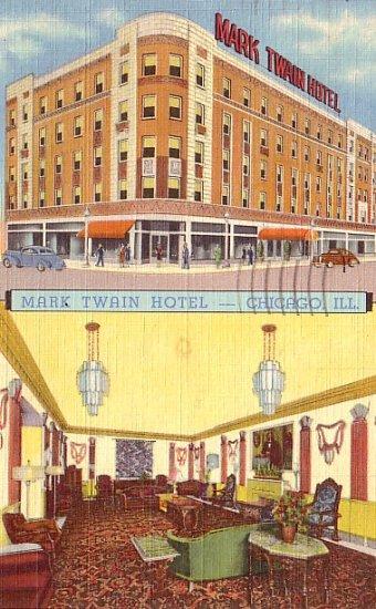 Mark Twain Hotel in Chicago Illinois IL, Curt Teich 1939 Linen Postcard - 3506