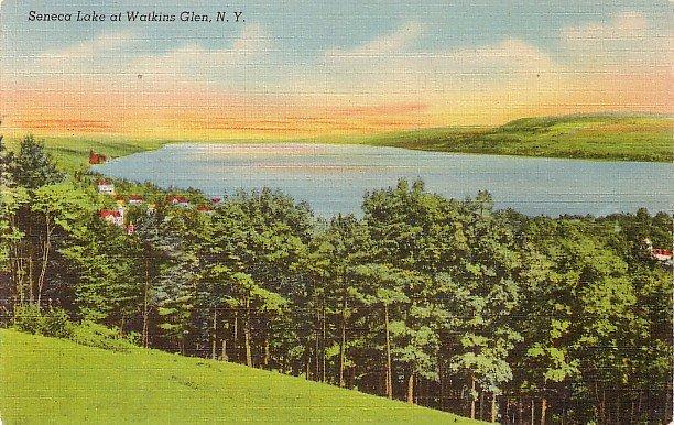 Seneca Lake at Watkins Glen New York NY, Mid Century Linen Postcard - 3525