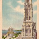 Riverside Church and Grant's Tomb in New York City NY, Mid Century Linen Postcard - 3528