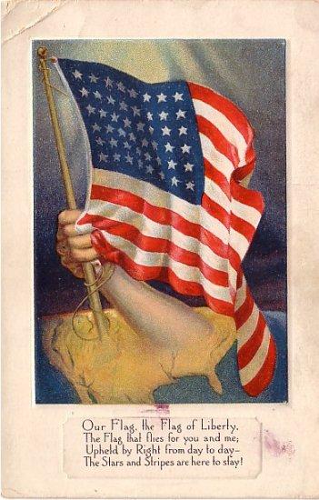 Flag Series Vintage Postcard with Arm Holding 48 Star United States Flag - 3531