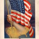 Flag Series Vintage Postcard with Arm Holding 48 Star United States Flag - 3531