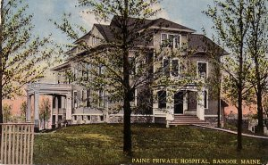 Paine Private Hospital in Bangor Maine ME, Curt Teich Vintage Postcard - 3532