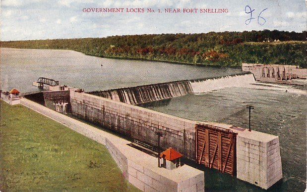 Government Locks No. 1 Near Fort Snelling Minnesota MN, Vintage Postcard - 3538
