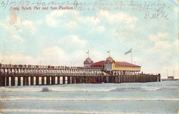 Pier and Sun Pavilion at Long Beach California CA, 1907 Vintage Postcard - 3545
