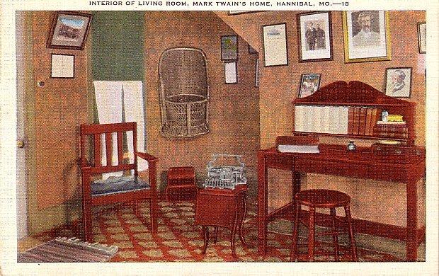 Living Room of Mark Twain's Home in Hannibal Missouri MO, Mid Century Linen Postcard - 3547