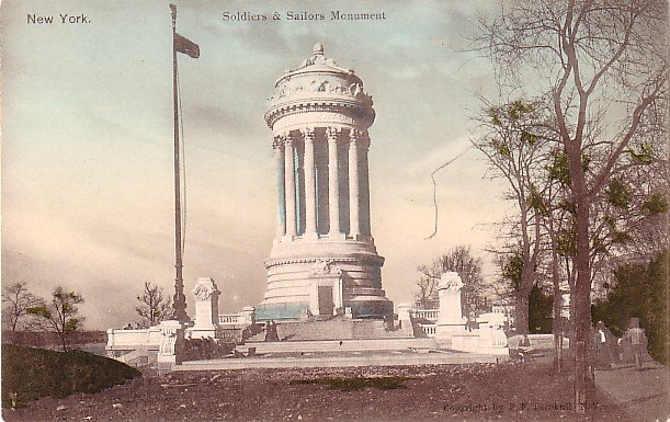 Soldiers and Sailors Monument in New York City NY, Hand Colored Vintage Postcard - 3549