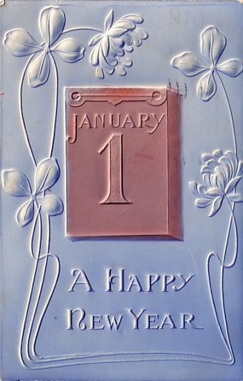 A Happy New Year with Clover, Embossed 1911 Vintage Postcard - 3554