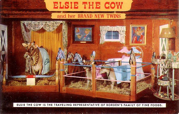 Borden 1957 Advertising Postcard of Elsie the Cow and her Brand New Twins - 3565