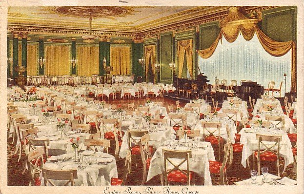 Empire Dining Room in the Palmer House at Chicago Illinois IL, 1945 Vintage Postcard - 3567